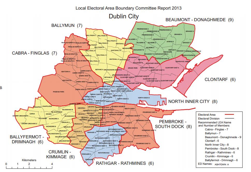 Dublin City Council 2014 electoral map