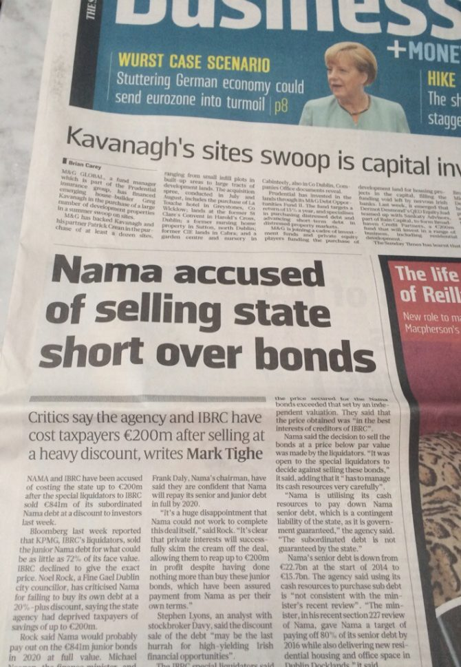 Exposing NAMAs €200m kick to taxpayers in Sunday Times